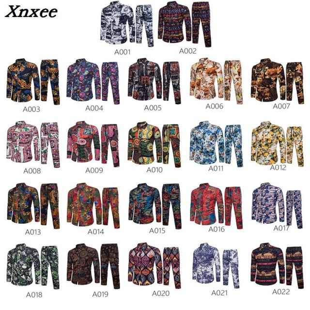 2018 New Arrival Men Shirts Set Top + Pants Casual Shirt Suits Single Breasted Floral Printed Vacation Beach Large Size M-5XL