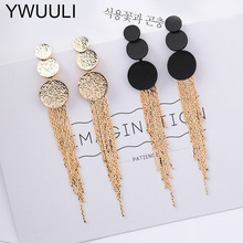 Statement Long Tassel Earring For Women Elegant Korean Style Uneven Round Drop Earrings Pendientes Brincos Fashion Jewelry XE23