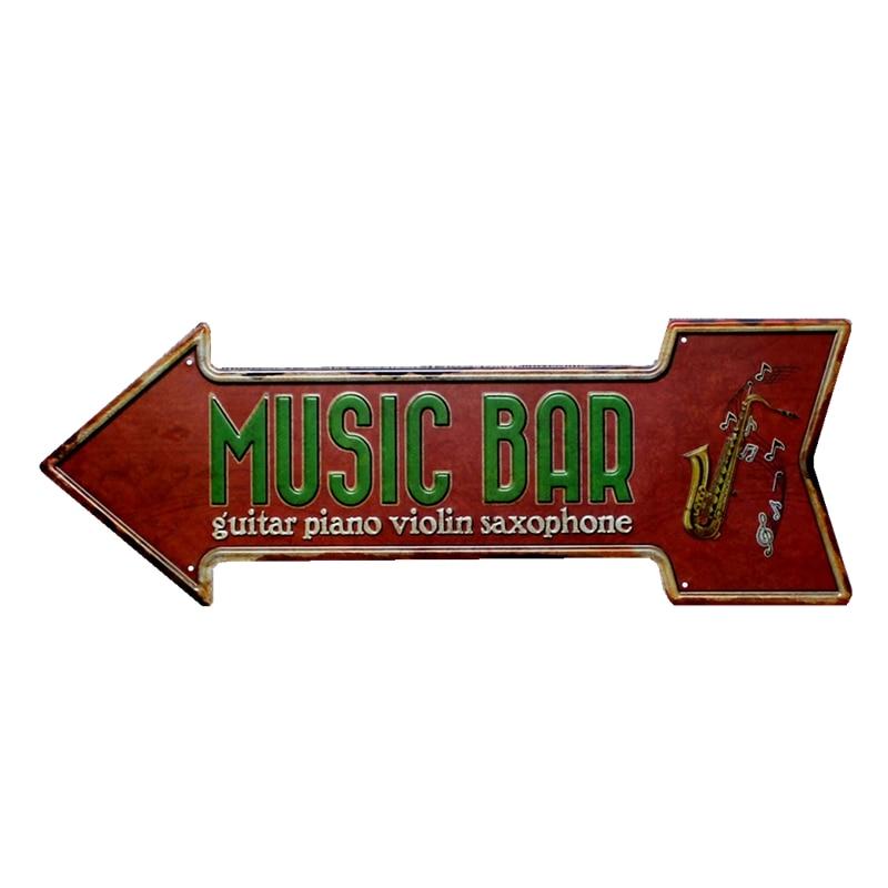 MUSIC BAR GUITAR PIANO VIOLIN SAXOPHONE Arrow Metal Tin Signs Vintage Irregular Plaque Wall Art Bar Pub Decoration Home Decor