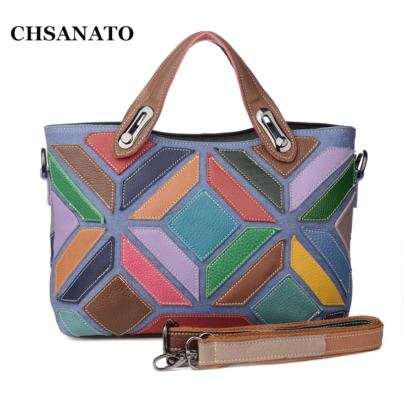 Brand Genuine Leather Women Handbag Colorful Cow leather Patchwork Shoulder Bag Fashion Women Crossbody Bag threepeas patchwork shoulder bag cow leather handbag women genuine leather messenger bag crossbody