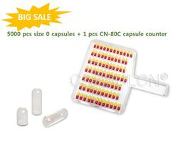 5000 pcs joined Size 0 Clear Gelatin Capsules + 1 pcs CN-80C capsule counter