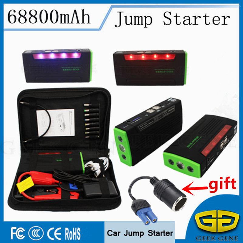 High Power 68800mAh Car Jump Starter 12V 600A Peak Starting Device Car Charger For Car Battery Booster Petrol Diesel Power Bank 6l petrol 4l diesel 74000mwh car jump starter 800a peak car battery power pack 12v auto charger portable starting device bank