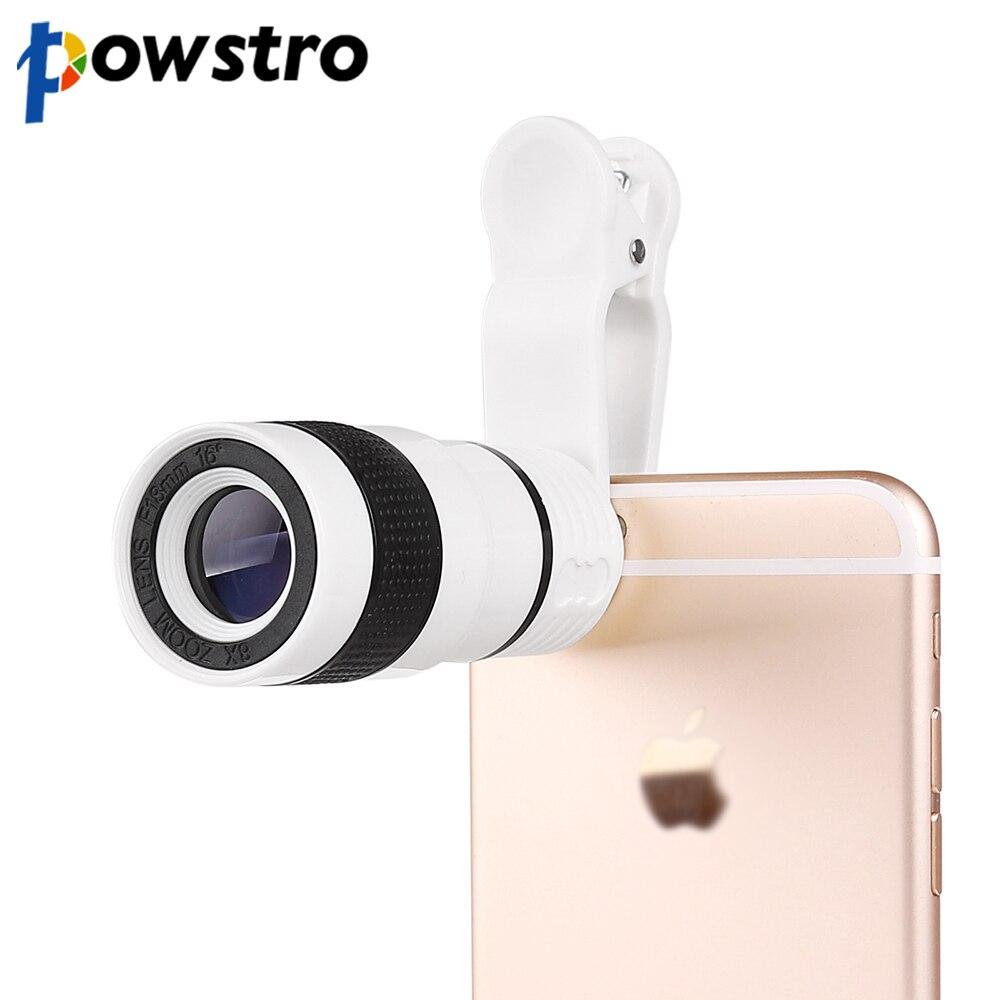 Powstro 8X Zoom Telefoto Telescópio Lente Da Câmera com lente Da Câmera Clipe para iphone 6 6s para samsung para htc e outros smartphones