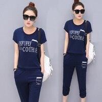 2017 Sports Set Female Casual Twinset Loose Plus Size Clothing Short Sleeve Fashion Sportswear 5501