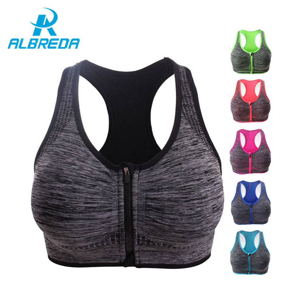 ALBREDA Professional Women Sport bra Brand Running Yoga Sports Bra Push Up Shockproof Wirefree Crop Top Fitness Racerback Vest
