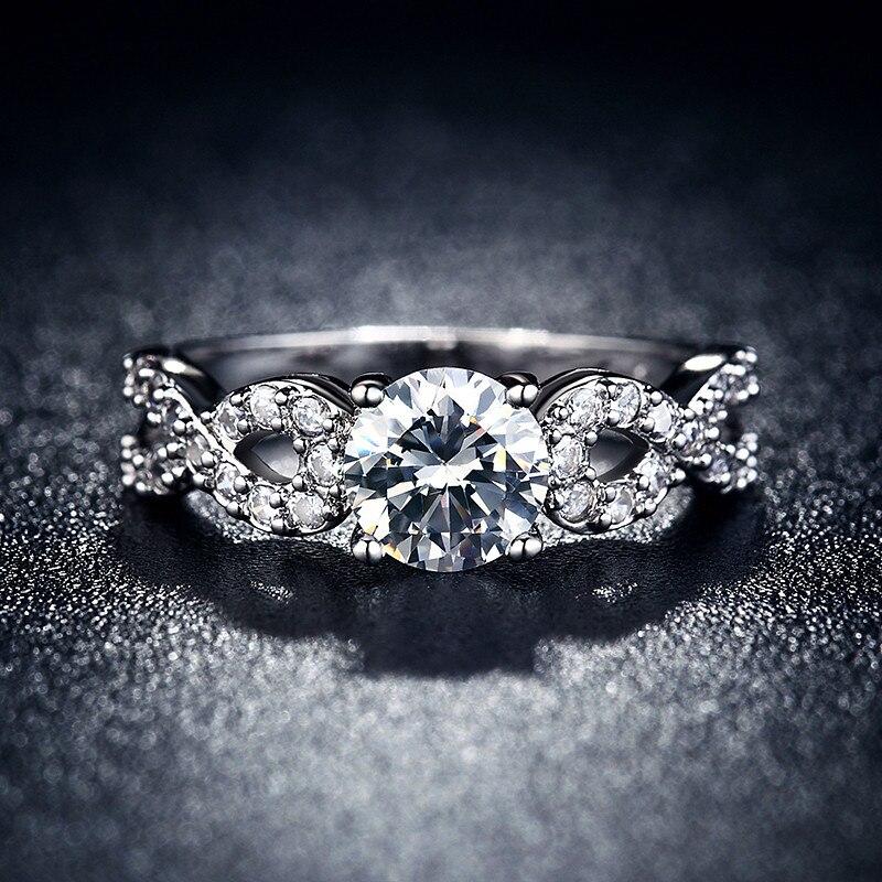Modni vjenčani prstenovi za žene 585 Bijelo zlato u boji prepleteni - Modni nakit - Foto 4
