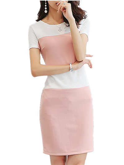 caefa54592a86 Summer Dress 2019 Fashion white pink patchwork slim Midi Bodycon Dress  Women Vestidos Robe Office Pencil Dress