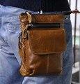 Primera capa de cuero de la cintura packs hombres retro de cuero de caballo loco cámara del teléfono móvil de viaje 7 pulgadas gancho de cinturón de cintura pequeña packs