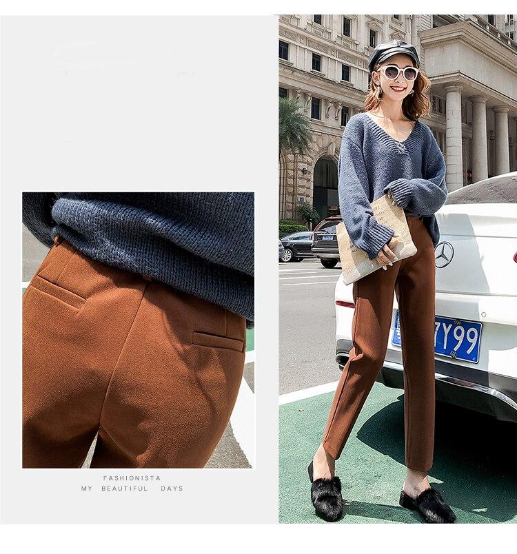 19 Autumn New Women Elastic Woolen Pant Female Plus Size Casual Trousers Black/Gray Harem Pants Winter Wool Ankle-Length Pants 12