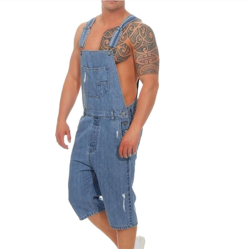 Helisopus Men Jeans Overall Summer Ripped Pocket Suspender Pants Denim Casual Jumpsuit