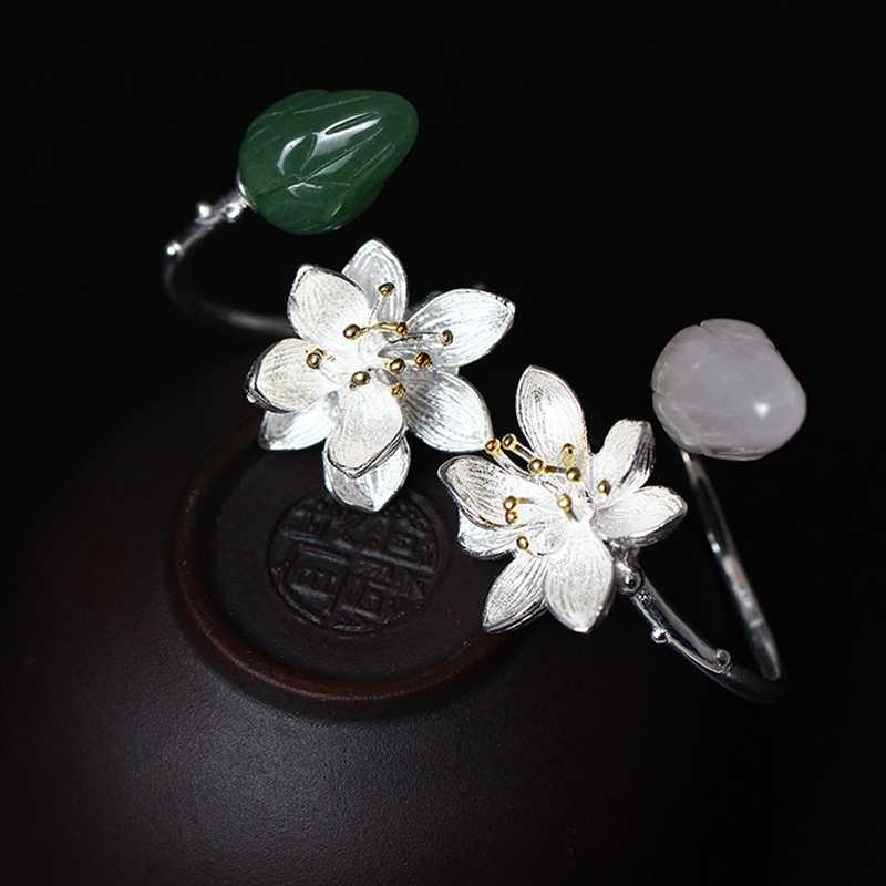 Pure 925 sterling silver หยก - ดอกไม้คริสตัลแหวนแฟชั่นการออกแบบป่าวรรณกรรมอารมณ์แหวน 2018 charm เครื่องประดับ