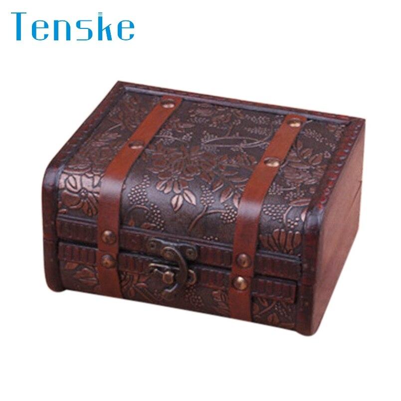 Tenske Wooden Box Decorative Trinket Jewelry Storage Box Handmade Vintage Wooden Treasure Case