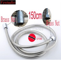 1 5m Double Lock Stainless Steel Shower Hoses With EPDM Inner Tubes Brass Nuts For Faucet