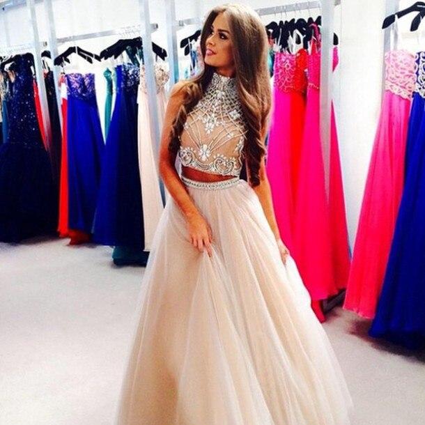 Brillant 2019 2 pièces robes a-ligne col haut bijoux en cristal lourd à la main Tulle Champagne longue robe de soirée pour les femmes