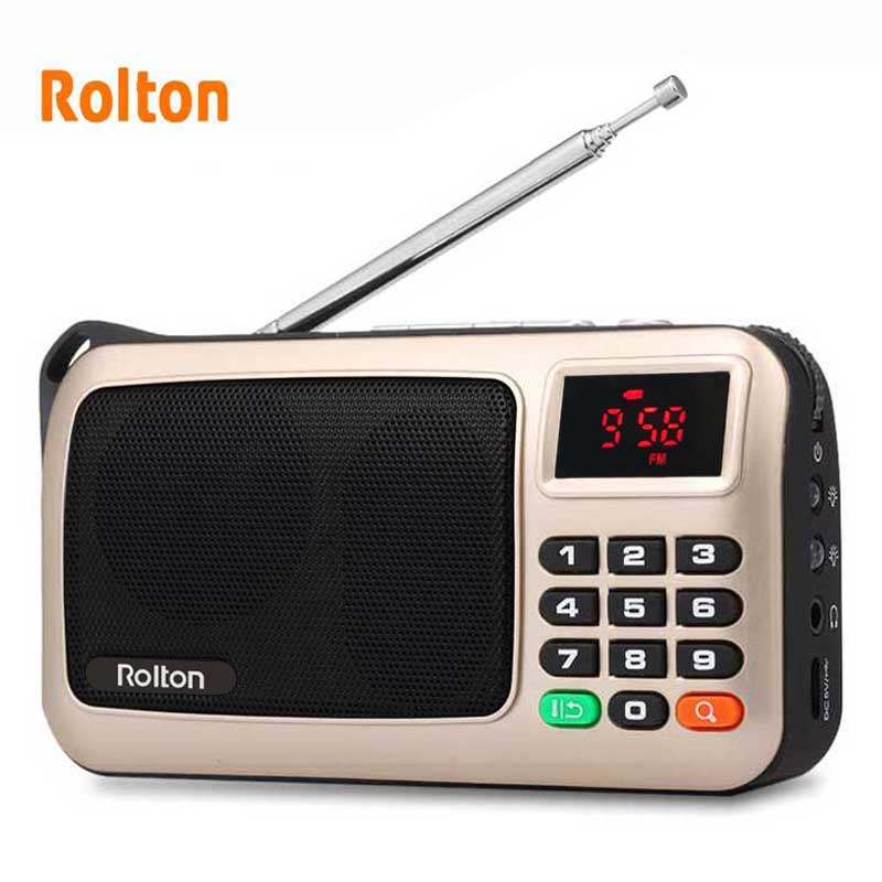 Rolton fm mini rádio portátil speaker music player tf cartão usb para pc ipod telefone com display led e lanterna