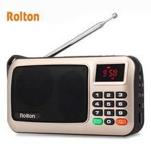 Rolton FM Портативный мини-рация плеера TF карты USB для ПК Телефон Ipod с светодиодный Дисплей и фонарик