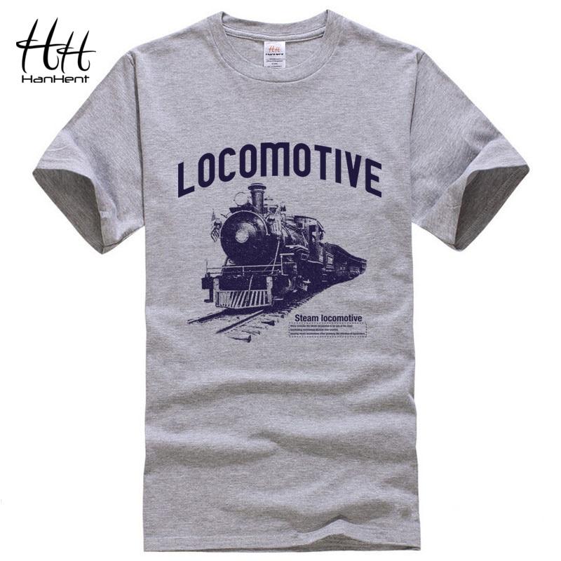 HanHent Locomotive Print T-shirt 2018 Mens Tee Shirts Summer Fashion Rock O-Neck Loose Casual Men's T Shirt Streetwear Clothes