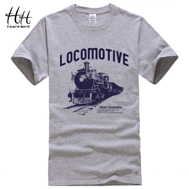 HanHent Locomotive Print   T  -  shirt   2018 Mens Tee   Shirts   Summer Fashion Rock O-Neck Loose Casual Men's   T     Shirt   Streetwear Clothes