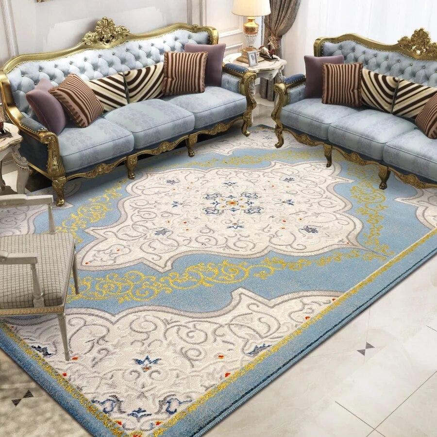 Tapis de salon art bleu romantique français, tapis de chevet de style rétro, tapis de bureau décoratif, tapis de sol de grande taille