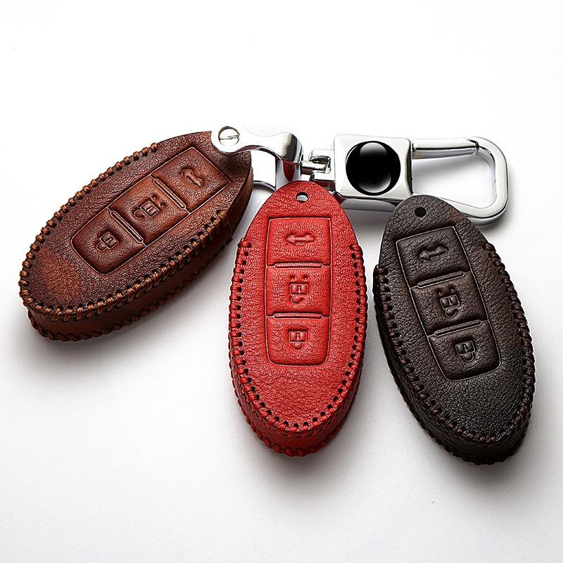Genuine Leather Key Case Cover For Nissan Qashqai J11 Skyline Juke Alissa X-Trail T32 Murano Note Almera Car Keychain