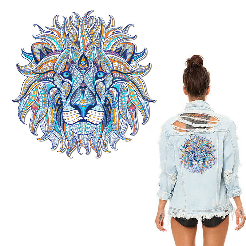Iron-on Transfer Clothes Patches Cool 3D Lion King Stickers for Tops T-shirt Household DIY Decoration Appliqued for Tote Curtain