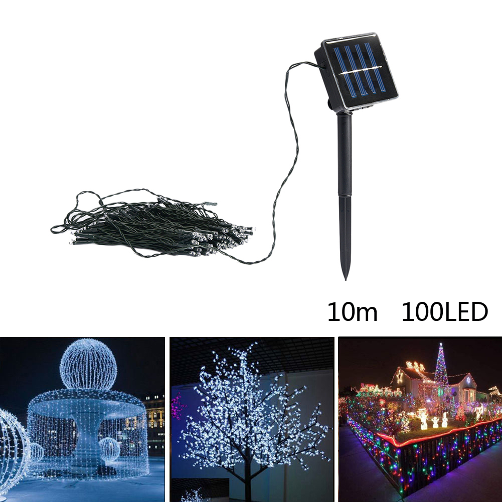 Waterproof 10m Solar Power 100 LED String Fairy Light Lamp For Party Garden Outdoor Christmas Tree Decoration 50m waterproof solar powered led string light wireless outdoor decoration for christmas tree party street roof