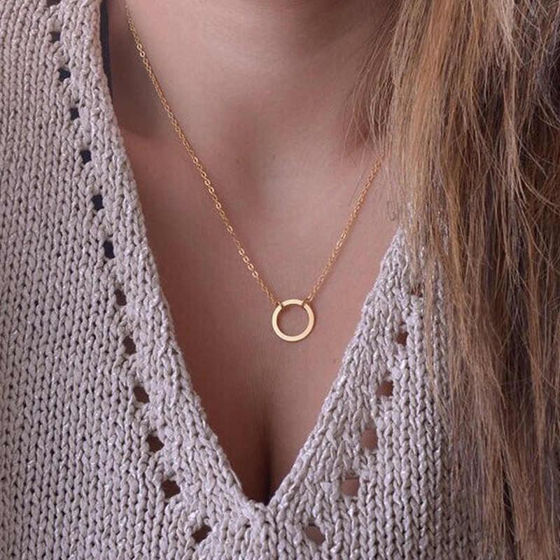 ZCHLGR פשוט חדש שרשרת עגול תליון זהב מעגל Invisible נשים של שרשרת תכשיטי עצם הבריח שרשרת מתנה