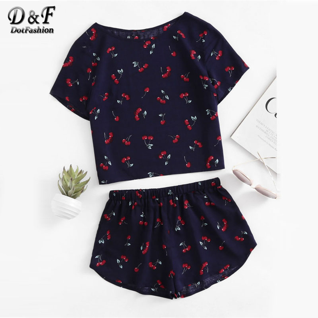 Dotfashion Print Top And Shorts 2019 New Short Sleeve Cute Women Clothing Two Piece Set Round Neck Casual Pajama Set