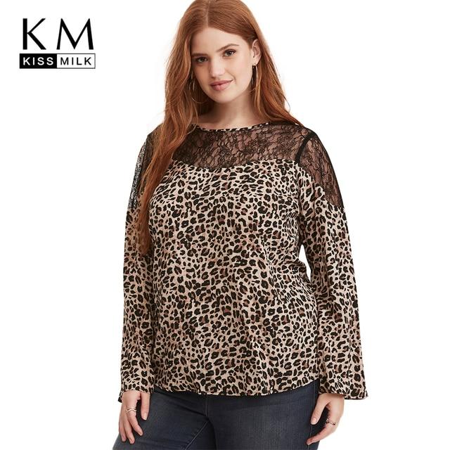255b0c485b2 Kissmilk 2018 Plus size Leopard Floral Lace Patchwork Women Blouses Large  Size Semi Sheer Mesh Female Sexy Big Size Lady Tops