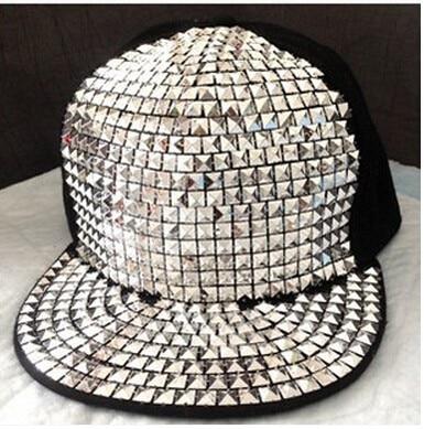 sombrero espárragos hip de sol colorido hop gorra de estilo back CAPS béisbol punk unidades malla mosaico remache Snap unisex fluorescente 5 ajustable qCt70wZ6