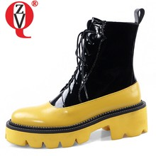 ZVQ punk women's shoes cow leather ankle boots thick-soled casual platform yellow winter Round toe 5cm mid heels Martin boots(China)
