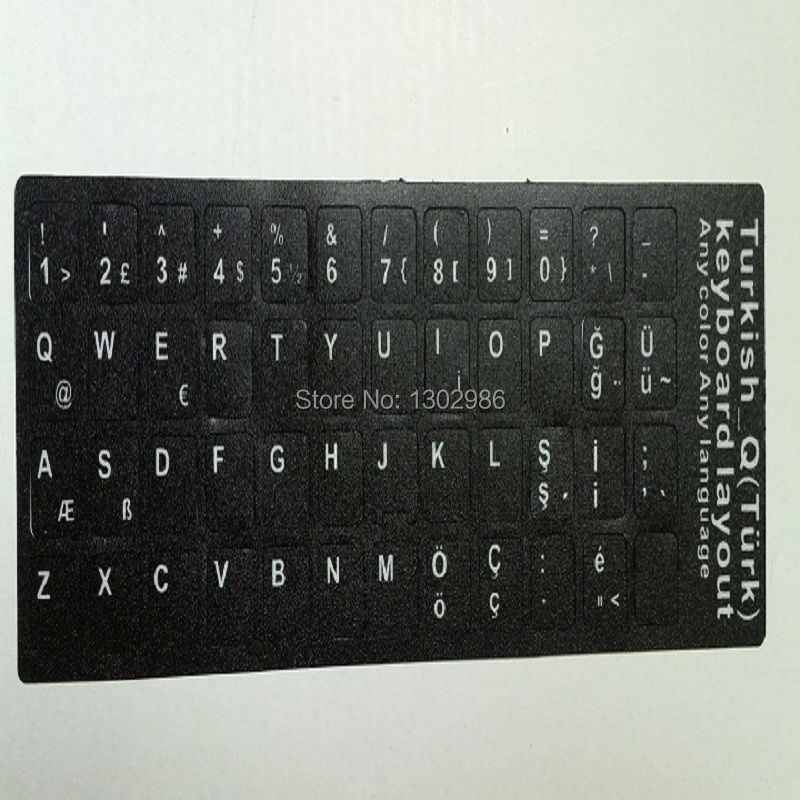 50pcsTurkish Letters Alphabet Learning Keyboard Layout Sticker Laptop / Desktop Computer Keyboard 10 դյույմ կամ Tablet PC- ի վերևում