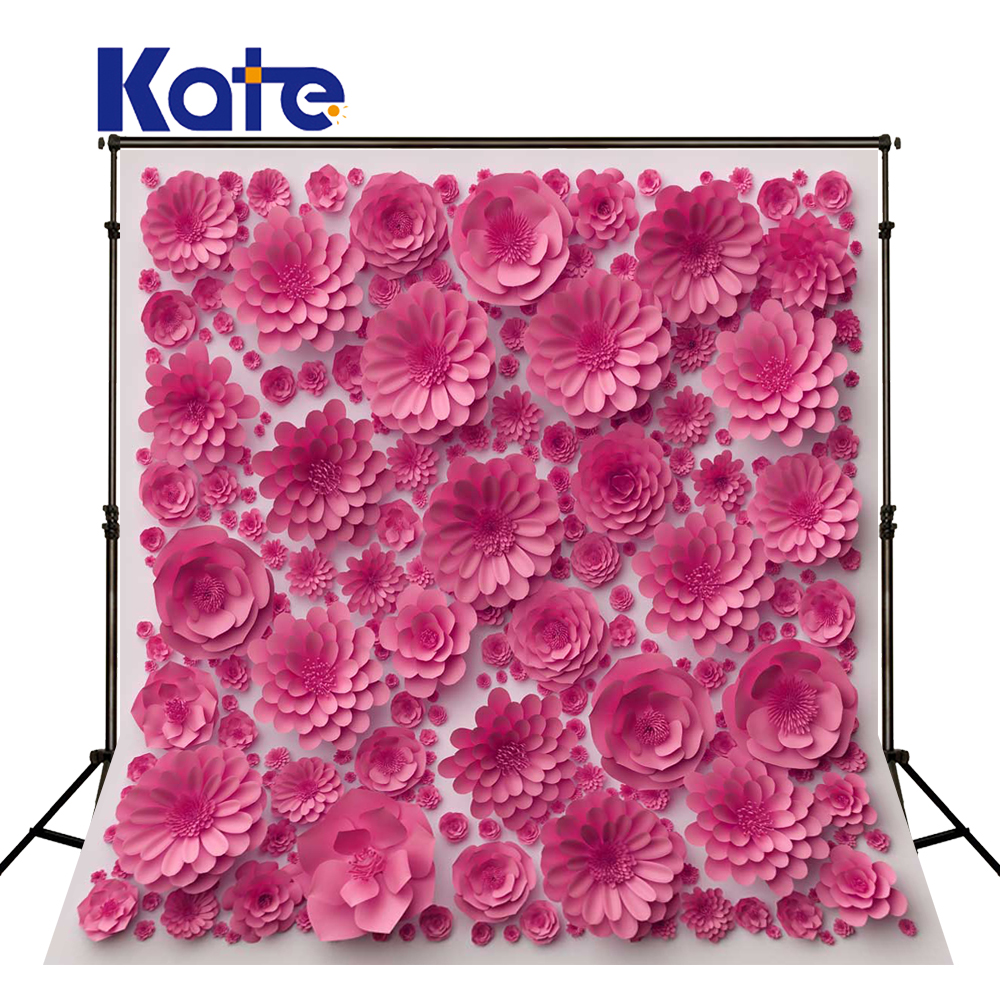 KATE Valentine's Day Backdrop Photography Background Pink 3d Flower Background Paper Flower Wedding Background for Photo Studio