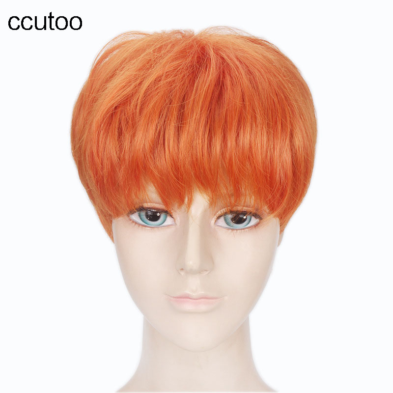 ccutoo 12 Orange / Black /Silver White Short Straight Synthetic Elastic Full Lace Cosplay Costume Wigs Peluca Party Wigs