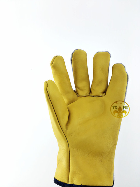 2016 new glovesAP41 welding gold leather gloves work safety thick sweat absorbing gloveCE certification