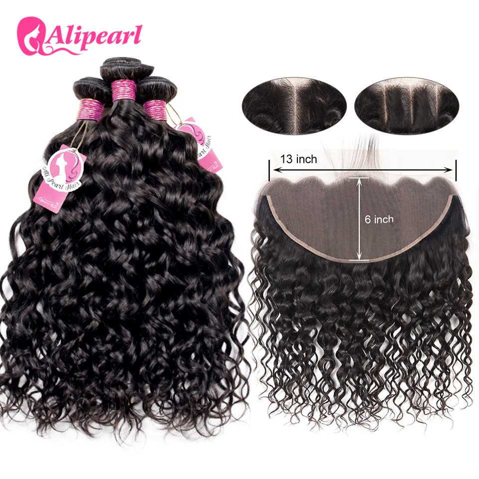 Water Wave 13x6 Lace Frontal Closure With Bundles Brazilian 3 Bundles With Frontal Closure Free/Middle/Three Remy Ali Pearl Hair