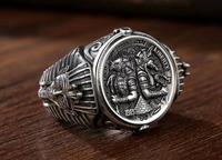 s925 sterling silver ring personality mighty Anubis Rangers Egyptian pharaoh adjustable men's ring