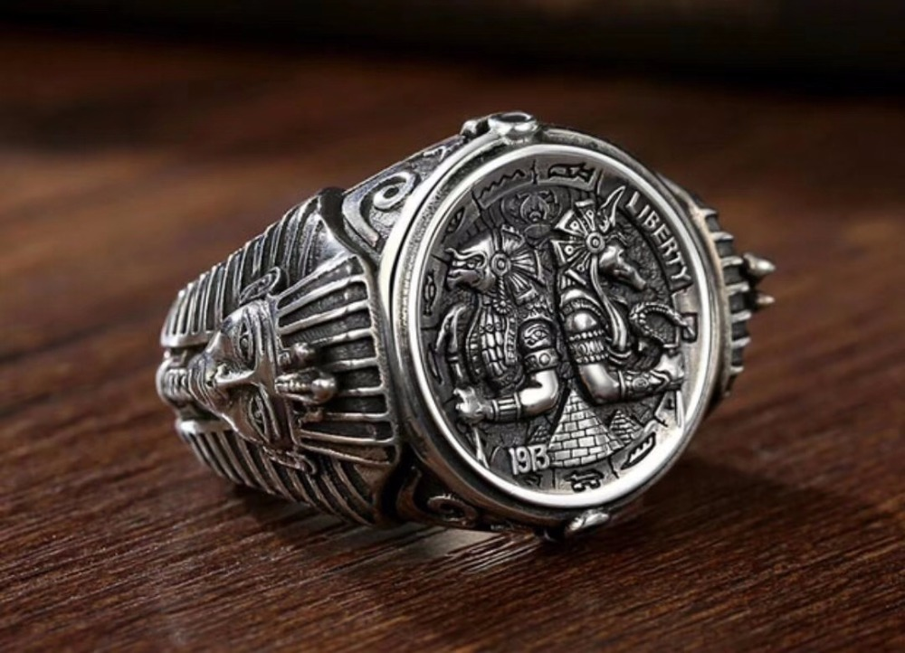 s925 sterling silver ring personality mighty Anubis Rangers Egyptian pharaoh adjustable men's ring все цены