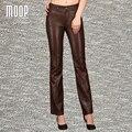 Черный коричневый натуральная кожа брюки 100% овчины flare брюки натуральная кожа сращены брюки pantalon femme pantalones mujer LT1033