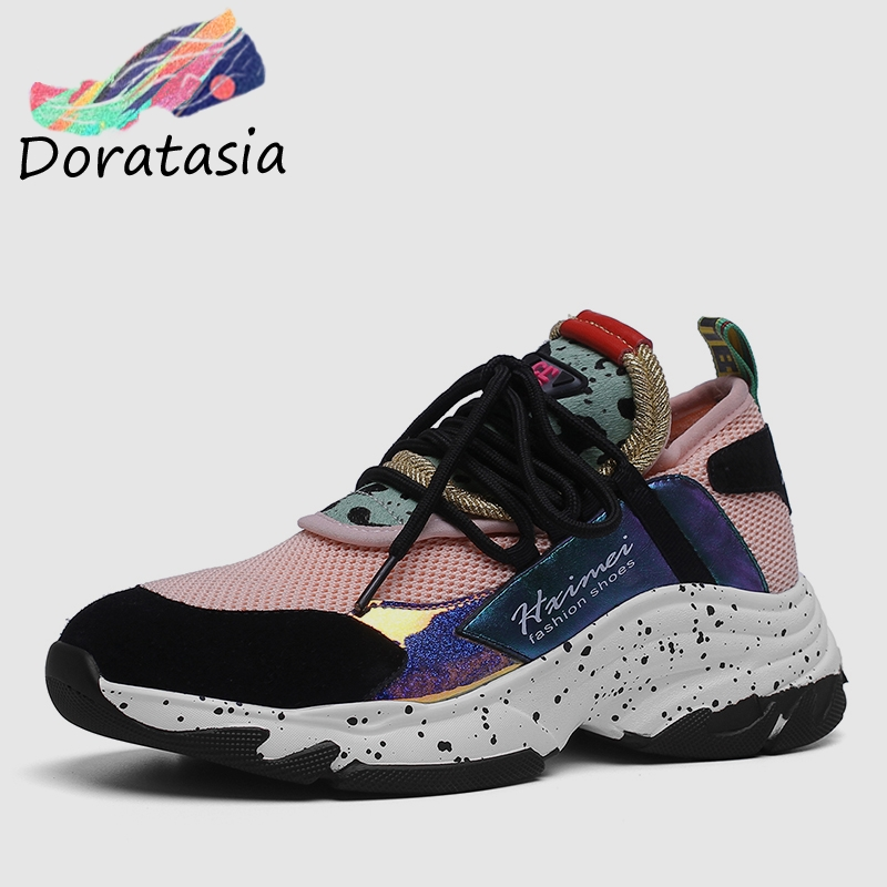 DORATASIA 2019 New INS Hot Summer Genuine   Leather     Suede   Sneakers Girl Horsehair Decoration Casual Shoes For Ladies Shoes Woman