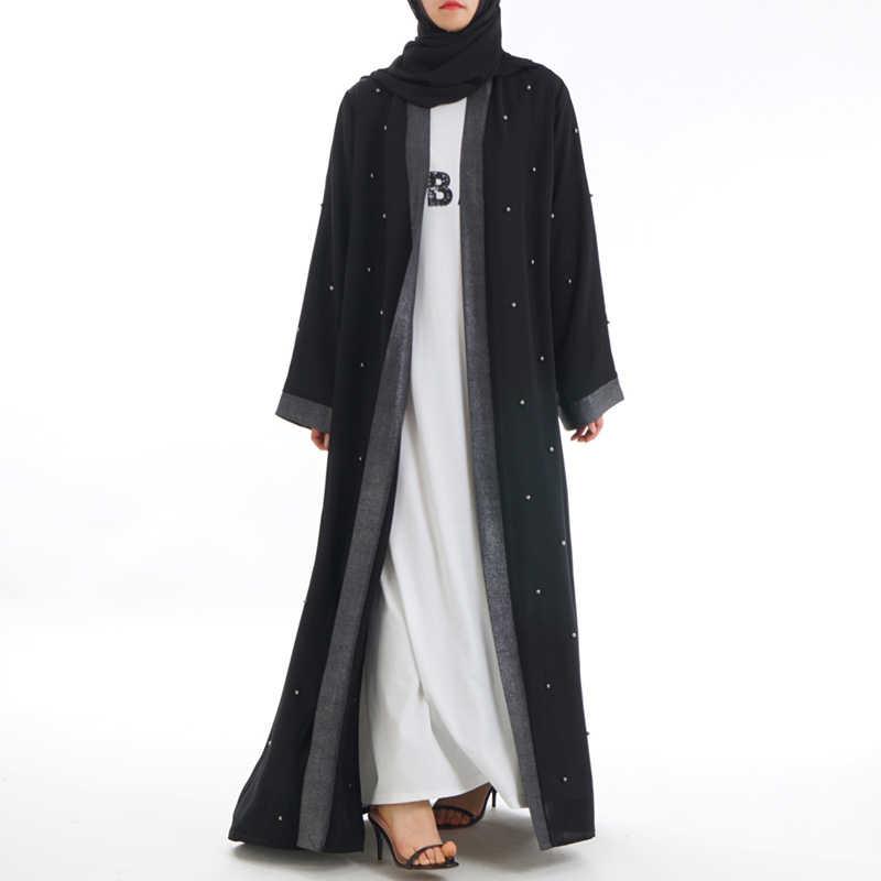 שחור פתוח מוסלמי העבאיה גלימת דובאי תורכי האיסלאם חיג 'אב שמלת קפטן קימונו לנשים קפטן Marocain Jilbab עיד הרמדאן Elbise
