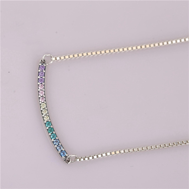 New Trendy Authentic 925 Sterling Silver Rainbow Arcs Of Love Necklace For Women Wedding Birthday Gift Fit Pans Fine Jewelry in Chain Necklaces from Jewelry Accessories