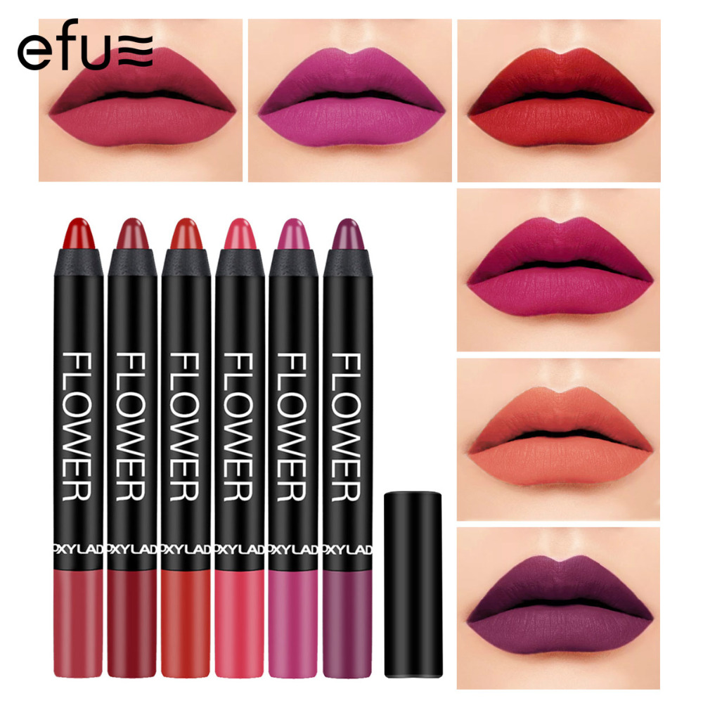 6Pcs/Lot No-smear Waterpoof Lipstick 6 Colors Long-Lasting Matte Lips Pen With Pencil Sharpener 4g Makeup Brand EFU #7063-7068