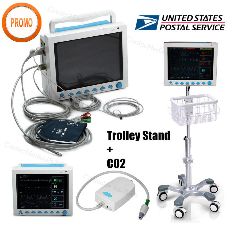 USA Fedex ICU Patient Monitor CO2 Vital Signs Monitor 6 Parameters+ETCO2+Stand usa fedex icu patient monitor co2 vital signs monitor 6 parameters etco2 stand