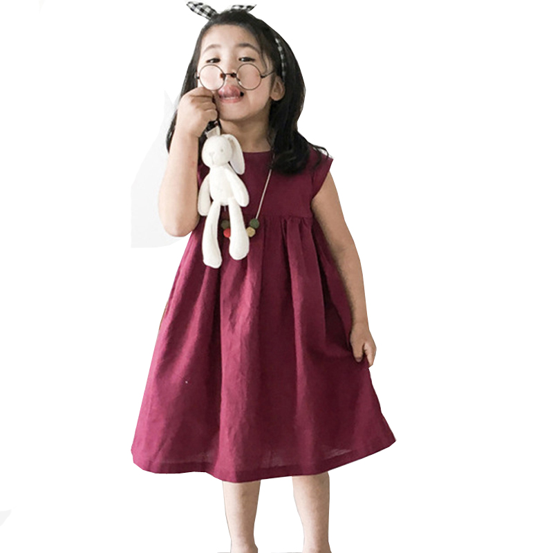 Baby Girls Dress Summer Toddler Kids Linen Cotton Casual Dresses Party Princess Vestido Children Clothing Korean Girl Costume