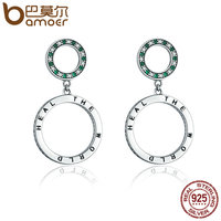 BAMOER Authentic 925 Sterling Silver Heal The World Letter Round Drop Earrings For Women Sterling Silver