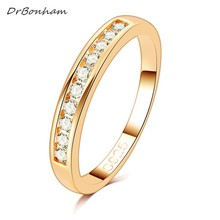 50%OFF!  Gold Color TOP Class 10 pcs zircon Studded Eternity Wedding Ring