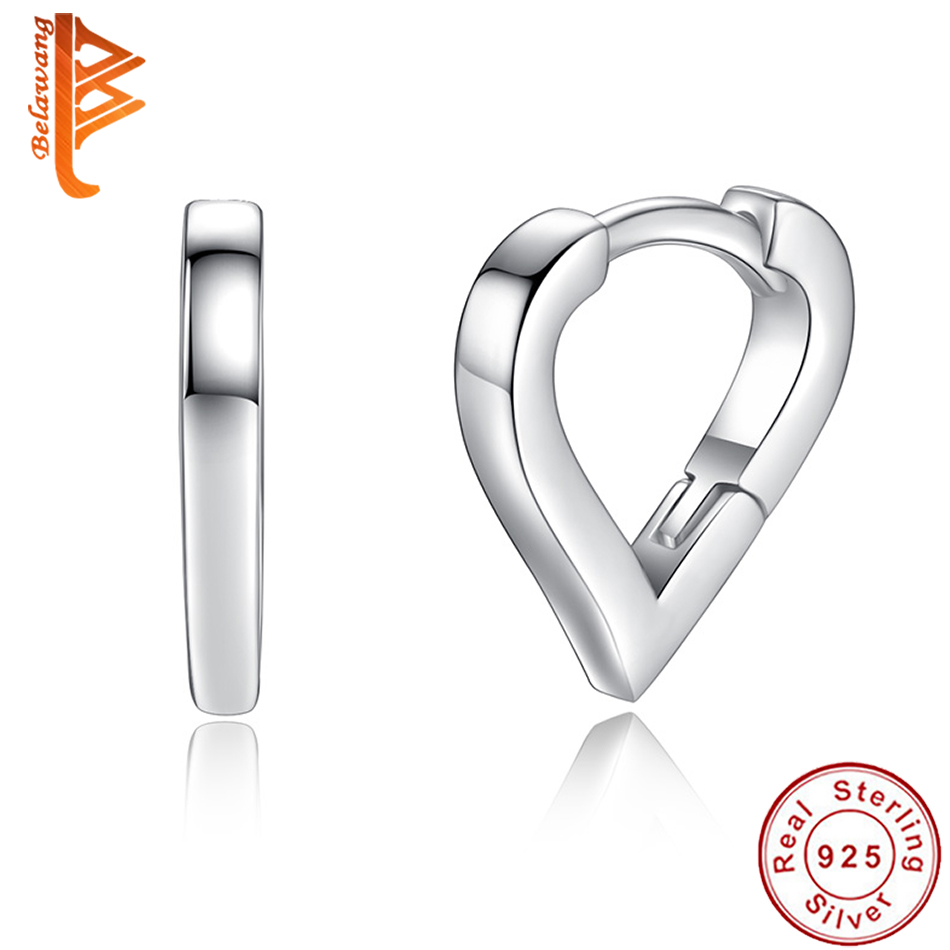 BELAWANG Authetnic 925 Sterling Silver Earrings for Child Hollow Heart Stud Earrings For Girls Kids Fashion Silver Jewelry Gift