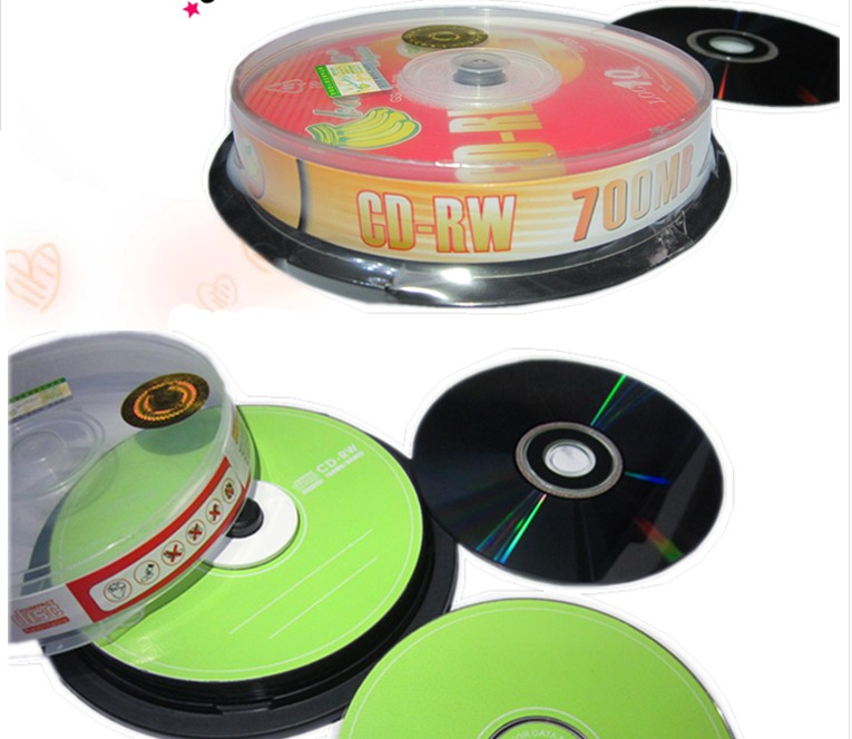 12cm High quality repeated erasable CD-RW empty / blank record disc / disk 4X 700MB 10PCS remasters box 4 compact disc set cd