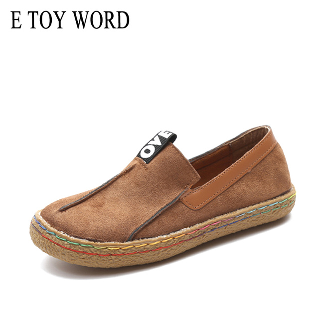 E TOY WORD 42 large size womens flats shoes slip on Woman Casual Flats Comfortable Round Toe Loafers literary retro women shoes